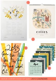 Creature Comforts Holiday Gift Guide: 2013 Calendars | Find links for all products on Creature Comforts Blog