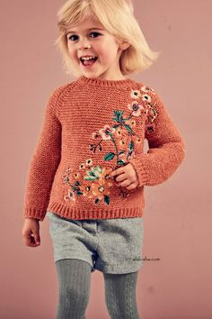 Buy Rust Floral Jumper from the Next UK online shop Knitting For Kids, Baby Knitting, Knit Fashion, Girl Fashion, Embroidery On Clothes, Kids Wardrobe, Mode Boho, How To Purl Knit, Cute Baby Clothes