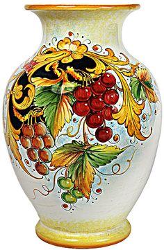 Deruta Italian Ceramic Vase - Frutta Festone Uva Rossa style