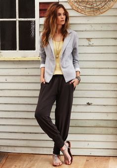A knit blazer is comfortable to wear and gives a finished look to a casual outfit.  Choose a color that coordinates with every top and bottom you bring.  Perfect for one-bag travel.