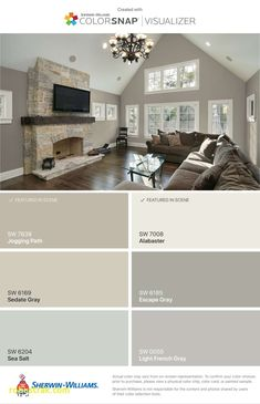sedate gray, alabaster & sea salt Love the light French grey Room Colors, House Design, Family Room Design, House Colors, House Interior, Home, Living Room Paint, New Homes, Home Remodeling