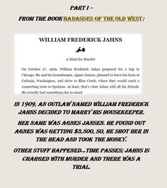 "Jahns/Jansen excerpt from ""Badasses of the Old West."""