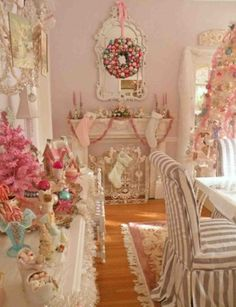Shabby chic Christmas, what a fun spin on tradition!
