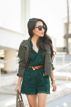 Emerald Friday :: Lace romper