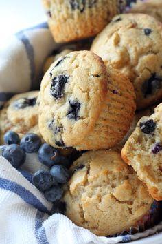 Healthy Greek Yogurt and Honey Blueberry Muffins
