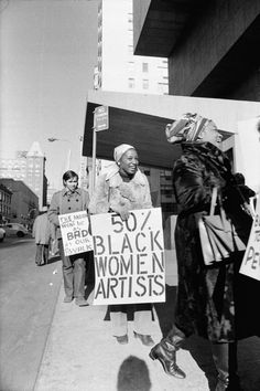 Jan van Raay (American, born 1942). Faith Ringgold (right) and Michele Wallace (middle) at Art Workers Coalition Protest, Whitney Museum, 1971. Digital C-print. Courtesy of Jan van Raay, Portland, OR, 305–37. © Jan van Raay