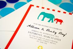 Allison  Circus Elephant Baby Shower Invitation  by mavoracards, $26.50