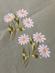 Garden Flowers Embroidered 100 Cotton Tablecloth and Six Napkins Daisies Flowers Pastel Green Venezia Made In Italy Hand Embroidery Videos, Hand Embroidery Tutorial, Embroidery Flowers Pattern, Hand Embroidery Stitches, Crewel Embroidery, Ribbon Embroidery, Embroidered Flowers, Creative Embroidery, Simple Embroidery