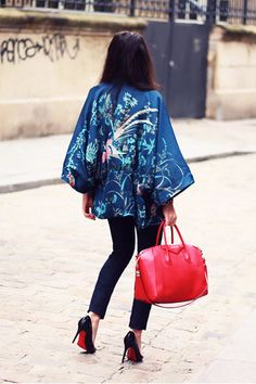 "Sky Blue Kimono She Inside Jackets, Navy Jeans WESC Jeans   ""Kimono."" by TheBlackFeather"