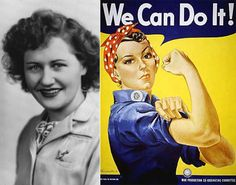 "This 1940's poster of ""Rosie the Riveter"", introduced as a symbol of patriotic womanhood."