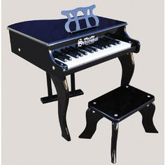 Schoenhut Black Baby Grand Piano distributed by Kaleidoscope. An elegant and quality introduction for kids to learn piano.