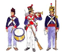 The uniforms here give a good indication of how the appearance of the shako could vary between units. On these four men the shako lace is indicated as a metallic color, but other sources indicate yellow. One minor error on figures 1 and 3 is that the 1833 coat is shown with white piping when it should be red. Numbers 2 and 3 wear the medium blue trousers that usually had a red trouser seam stripe. Grey trousers were an alternative to the white or blue versions.