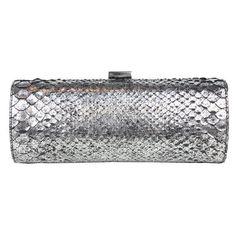 Jimmy Choo metallic silver snake-skin clutch ❤ liked on Polyvore