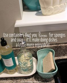 Keeping sponges and scrubbers accessible, but also open to the air for easy drying and less microbial growth and cute is important to me. I use a cute little vintage container for my sponges and a Fiesta tray to hold soap and dish soap. - Clean Mama