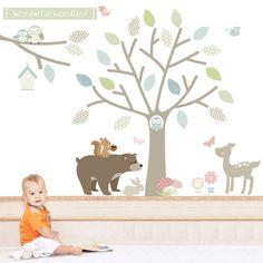 wonderful woodland fabric wall stickers by littleprints | notonthehighstreet.com