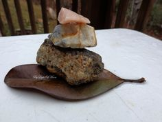 Stone Rock Cairn on Leaf Photograph 4x6 Natural by ByLightOfMoon, $5.00