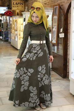 Nilüfer Kamacıoğlu Haki Yaz Bahçeleri Keten Elbise