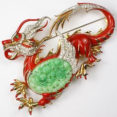 US$8750  Trifari 'Alfred Philippe' Jade and Red Enamel Giant Ming Dragon Pin