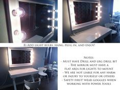 DIY lighted makeup mirror.  A must project for my hubby to make for me.  hehe
