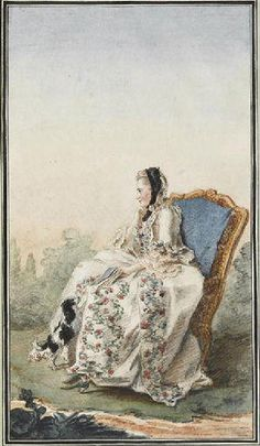 An 18th Century French lady sits in her garden with a black cloth wrapped around her head - perhaps she has a toothache?  Notice the forever present little lap dog begging to onto her lap.
