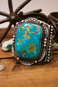 Nelvin Burbank Pilot Mountain Turquoise Stamped Bracelet Sterling Silver Native American Handmade
