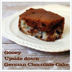 Upside Down German Chocolate #Cake.  OMG, seriously this is fantastic.  SO easy and simple ingredients.  It's absolutely fantastic.  Next time (yes, there's definitely a next time) I may use more coconut and pecans than the recipe calls for...I felt it would be fine with a little extra! ;)  Loved it.  It's a keeper!