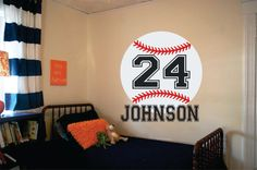 "Baseball Name Wall Decal - Decal for Boy Baby Nursery or Teen Boys Room 28""H x 23""W Wall Art"