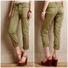 "Anthropologie Hei Hei Fairweather Rollup Pants Cute and on trend utility style Rollup pants. Light army green color. From Anthropologie, by Hei Hei. Cotton, spandex. Relaxed fit. Five-pocket styling. Button closure with drawstring tie. Style No. 4123506680266. Size 29. Waist is 17"" across and the inseam is 29."" Excellent condition - like new. Thanks for looking! Anthropologie Pants"
