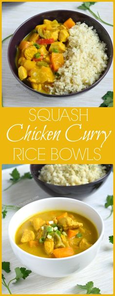 Butternut Squash Chicken Curry Rice Bowls