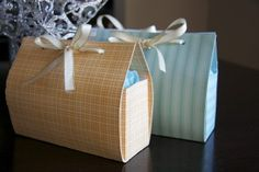 DIY gift bags: all you need is card stock, double sided tape, hole punch and ribbon.