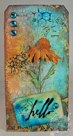 Tim Holtz crackle paste through honeycomb stencil inked background effect.