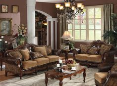 Chenille Fabric Sofa and Loveseat