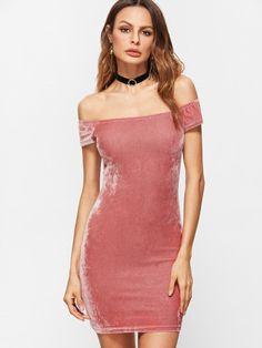 Pink Off The Shoulder Velvet Bodycon Dress