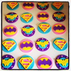 24 x Girlie Superhero Cupcake Toppers - Batgirl, Wondergirl, Wonderwoman, Supergirl by MadAboutCakeToppers on Etsy https://www.etsy.com/listing/249798680/24-x-girlie-superhero-cupcake-toppers