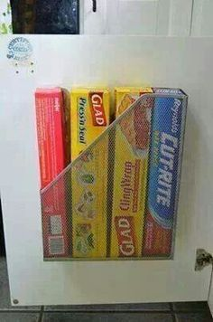 Smart and affordable way to store cling wrap, zip lock baggies & tin foil!