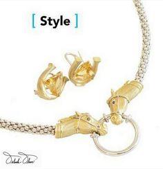 Orlanda Olsen two tone gold horse-head necklace/eyeglass holder & carved citrine horse head earrings #LouisvilleMagazine #Equestrian