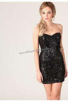 Black sweetheart strapless short party dress-NYP-0032 Vestidos de fiesta cortos