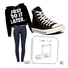 """""""Ready for school"""" by fangirl2002 on Polyvore featuring Frame Denim, Converse and Happy Plugs"""