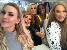 Nia Jax, and Charlotte, Natalya, Naomi, and Becky Lynch Wrestling Superstars, Wrestling Divas, Women's Wrestling, Charlotte Wwe, Charlotte Flair, Renee Young Wwe, Becky Wwe, Kicker, Wwe Female Wrestlers