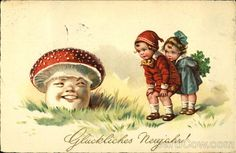 GERMAN LUCKY NEW YEAR Glucklickes Neujahr! Series 6092 Children Looking at a Mushroom with a Face