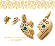 BEST FRIEND HEART CHARM 14K GOLD PLATED . . . . . . #treatyourbff #gift #charm #friendship #endure #forever