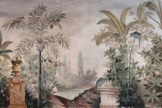 Paysages colorés - Le Jardin aux Oiseaux 350x235cm polychrome - Ultra mat