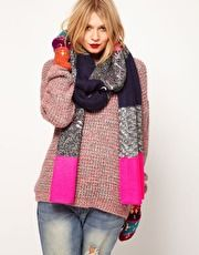 Long enough to layer and layer and keep warm! Lauren McCalmont For ASOS Foil Print Love My Winter Warmers Glad The Boiler Broke Scarf