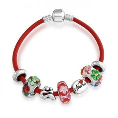 Bling Jewelry 925 Silver Red Nana Family Charm Glass Bracelet Fits Pandora -- You can get more details by clicking on the image. Heart Jewelry, Beaded Jewelry, Beaded Bracelets, Bling Jewelry, Charm Bracelets, Jewellery, Mother's Day Bracelet, Pandora Bracelet Charms, Trendy Jewelry
