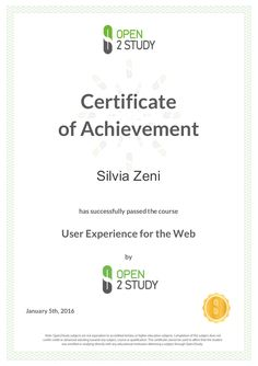 La certificazione del corso sulla #userexperience di Open2Study  #O2S #UX