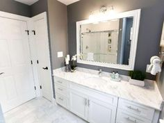 Gray Bathroom - pinning this so I can see what different color fixtures with gray walls.
