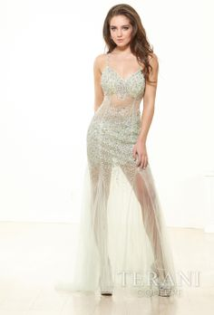 #Sultry #Style P3124 by #Terani Couture Dresses #Exquisite sheer design to make you look #outstanding in the party