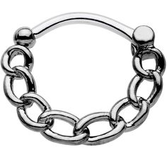 Product Details Show the world that you've got your fashion game locked down when you wear this simple surgical grade stainless steel septum clicker with chain link hoop. This piece is a perfect addit