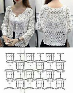 Crochet Baby Jacket, Crochet Coat, Crochet Tunic, Lace Knitting, Crochet Clothes, Crochet Bolero Pattern, Knit Wrap Pattern, Crochet Diy, Crochet Fashion