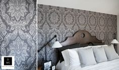 Charcoal and Grey Damask Wallpaper by Calgary Wallpaper Supplier & Installer Drop Wallcoverings, JF Fabrics